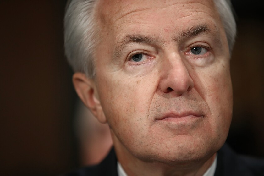 Wells Fargo Chief Executive John Stumpf testifies before the Senate banking committee.