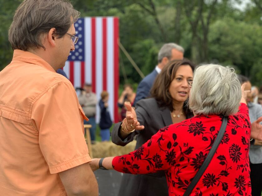 Kamala Harris greets voters after a town hall in Londonderry, N.H., on Sept. 6.