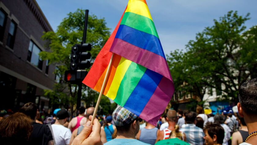 People attend the LGBTQ Chicago Equality rally in June. Starting in January, the use of a rare criminal defense argument that a victim's sexual orientation is justification for a violent crime will be outlawed in Illinois.