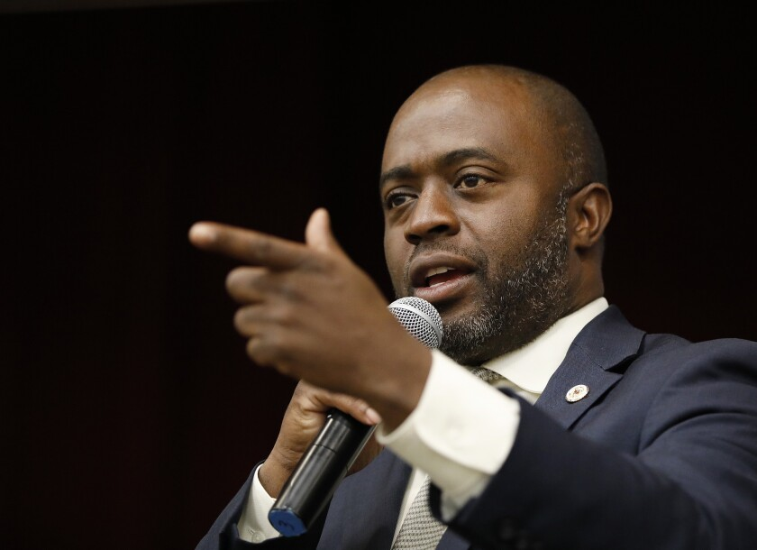BUENA PARK, CA - NOVEMBER 5, 2018 - Tony Thurmond, running for State Superintendent of Public Instru