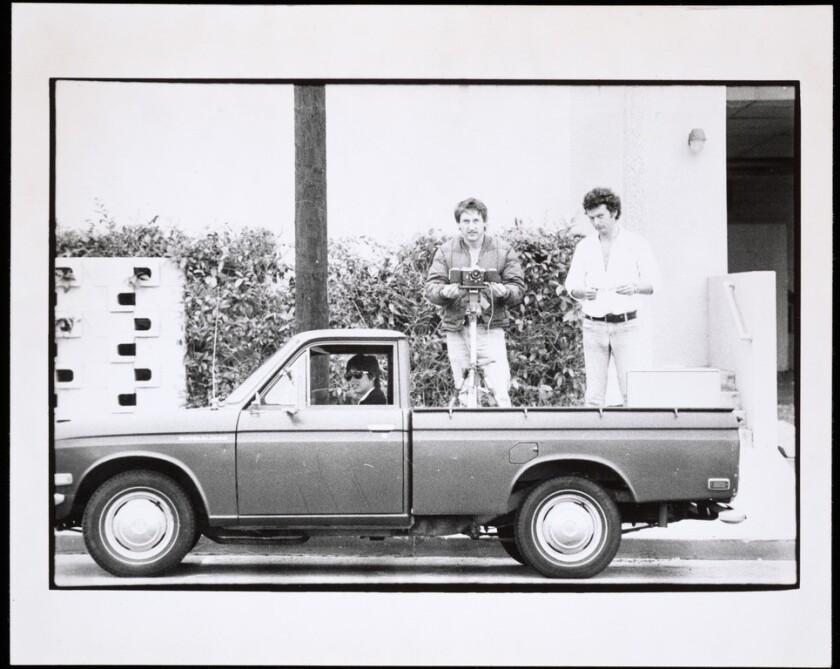 Danny Kwan, Ed Ruscha and Bryan Heath in Ruscha's Datsun pickup truck in 1975.
