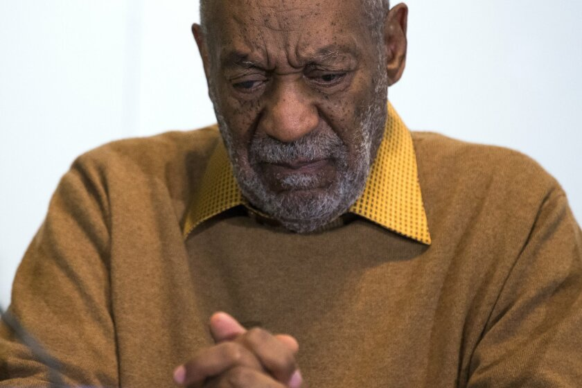 FILE- In this Nov. 6, 2014, file photo, entertainer Bill Cosby pauses during a news conference about the upcoming exhibit at the Smithsonian's National Museum of African Art in Washington. Cosby detailed his efforts to keep his exploits from his wife in a transcript of a 2005-06 deposition taken in Philadelphia. It is the only publicly available testimony he has given in response to accusations he drugged and sexually assaulted dozens of women over four decades. Cosby has denied the allegations, calling the sexual contact consensual. (AP Photo/Evan Vucci, File)