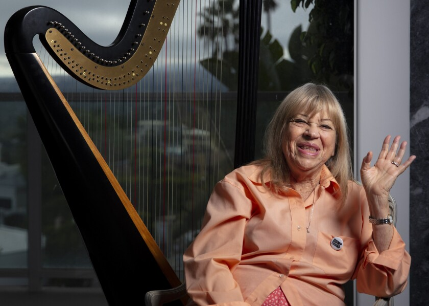 LOS ANGELES, CA --MARCH 27, 2019 -- Musician Corky Hale, known for her harp, piano and singing, has