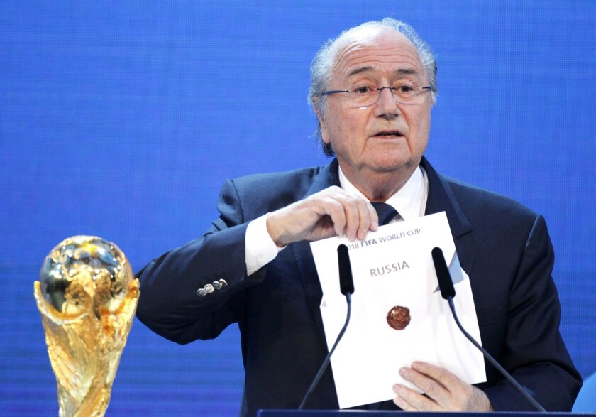 Back in 2010, then-FIFA President Sepp Blatter announces Russia will be the host of the 2018 World Cup.