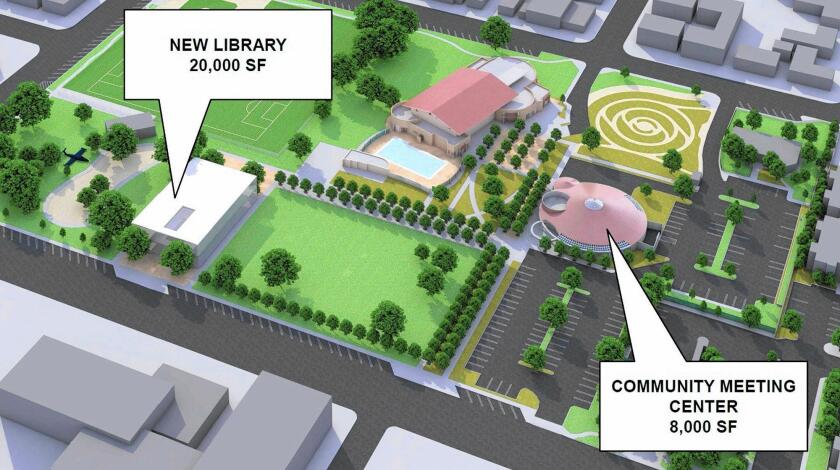 A rendering shows city-approved plans to build a new central library in Costa Mesa's Lions Park, demolish the Neighborhood Community Center and convert the Donald Dungan library branch into a community meeting space. City staff hopes to use surplus money to help fund the project.