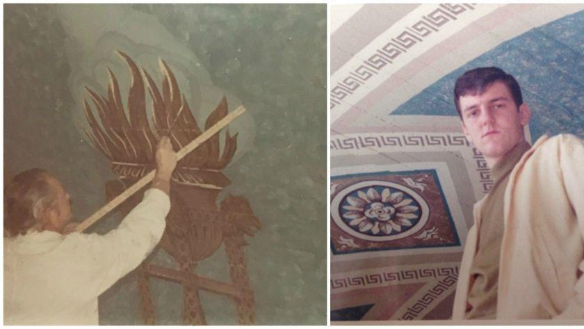 Artist Heinz Rosien trabaja en el mural. En la foto de la derecha, Igor Rosien posa tras finalizar la obra en 1969.