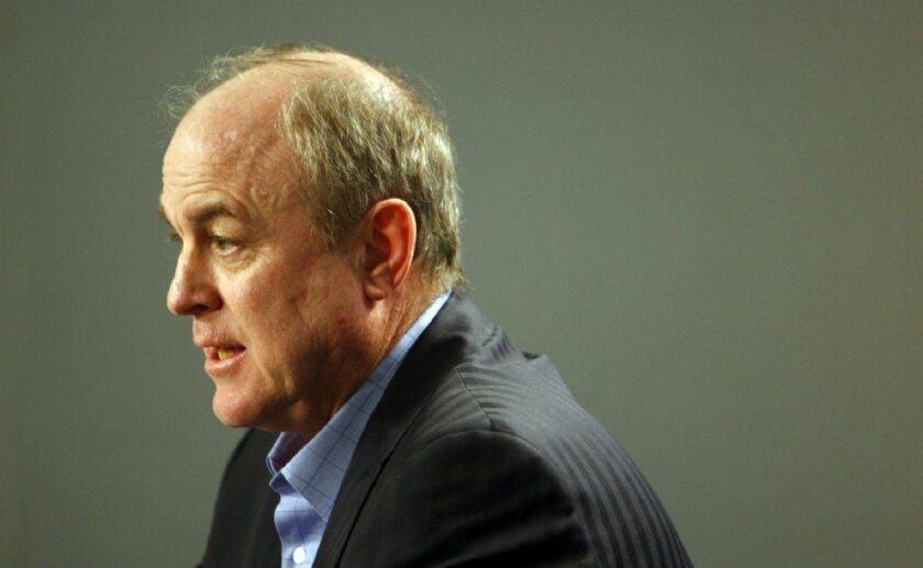 Ben Howland talks at a news conference on Monday after being fired by UCLA as the men's head basketball coach.