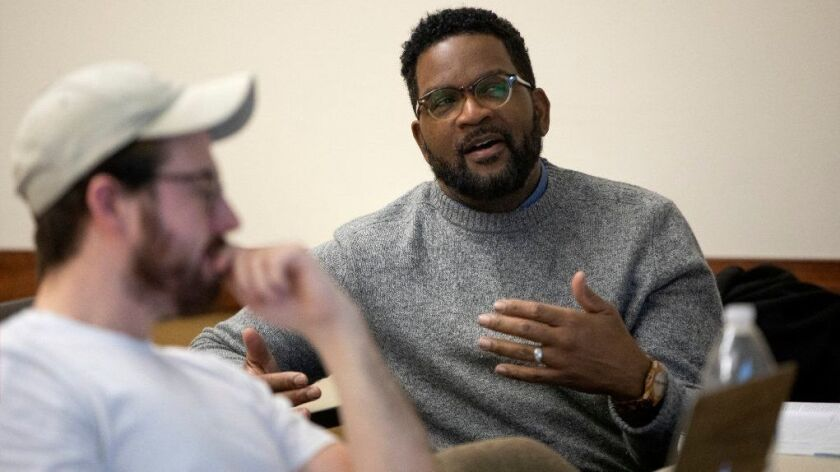 Bradly Johnson participates in a discussion about ethics, Feb. 12, 2019, at the School of Public Service at DePaul University in Chicago.