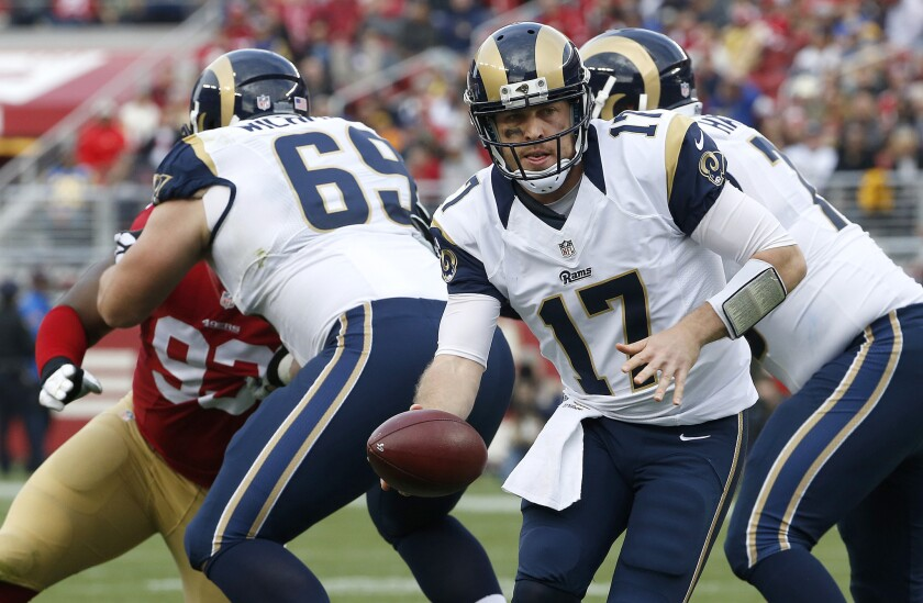 Rams quarterback Case Keenum looks to hand off the ball against San Francisco on Jan. 3.
