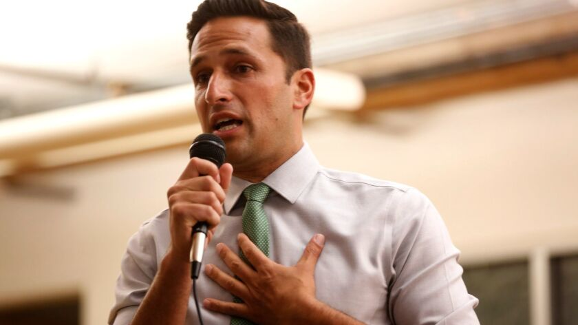 L.A. City Council candidate Joe Bray-Ali appears at a candidates forum last week.