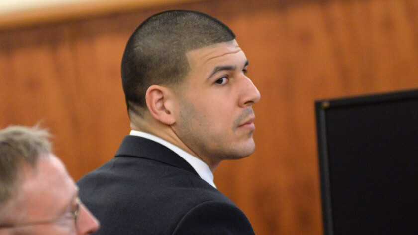 Former New England Patriots tight end Aaron Hernandez listens to proceedings in Bristol County Superior Court during his murder trial in Fall River, Mass.
