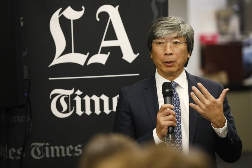 Dr. Patrick Soon-Shiong speaks to the Los Angeles Times staff in June 2018 after purchasing the newspaper.