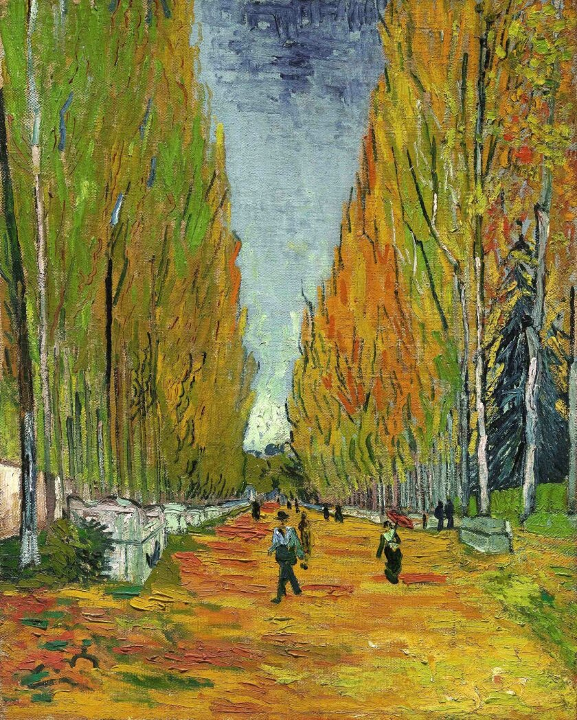 """CORRECTS NAME OF PAINTING TO """"THE ALLEE OF ALYSCAMPS, INSTEAD OF THE ALLEE OF ALYSCAMPSIS - This undated photo provided by Sotheby's shows the Vincent van Gogh painting, """"The Allee of Alyscamps"""" that the auction house predicts will fetch more than $40 million when it is auctioned in New York on Tue"""