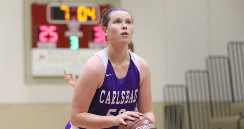 Carlsbad junior Renza Milner posted a game high 19 points.