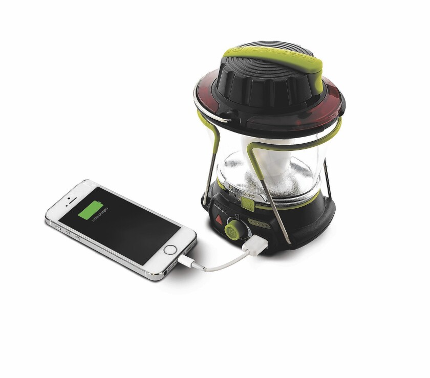 The Lighthouse 250 Lantern is equipped with a USB port, solar panel or hand crank for three different charging options. It features 250 lumens of bright LED light. It can also be used as a power source to charge phones and other USB devices. $79.99 at http://www.goalzero.com.