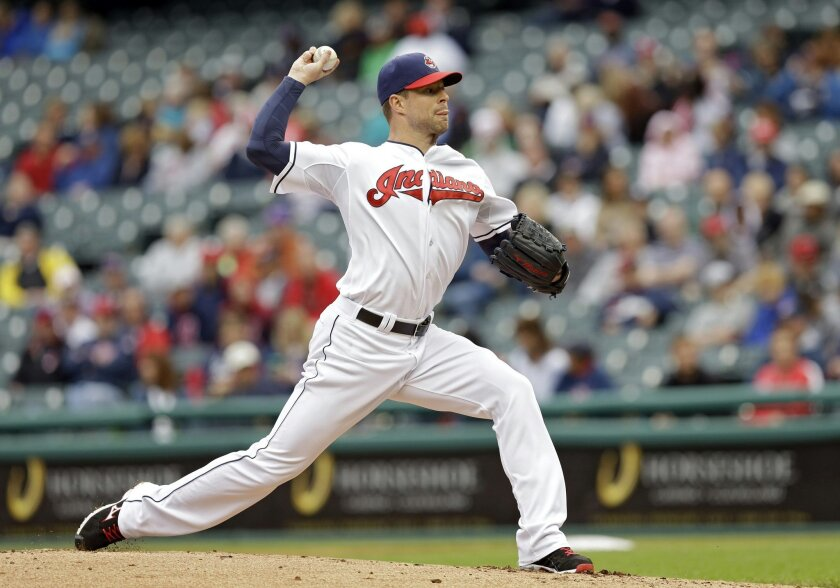 FILE - In this Spet. 11, 2014, file photo, Cleveland Indians starting pitcher Corey Kluber delivers against the Minnesota Twins during a baseball game in Cleveland. A person familiar with the negotiations says the Indians are close to signing AL Cy Young Award winner Kluber to a multiyear contract extension. Kluber's agent and the club have had talks during the spring and were nearing a deal, the person told The Associated Press on Saturday, April 4, 2015. An agreement could be finalized as early as Sunday, said the person, who spoke on condition of anonymity because the Indians do not comment during contract talks. (AP Photo/Mark Duncan, File)