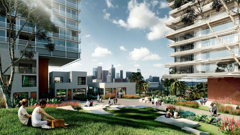 Rendering of the site of the former headquarters of the Metropolitan Water District at 1111 Sunset B