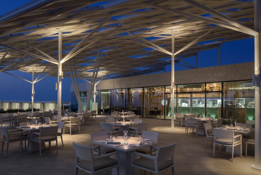 Terrace's Scape Restaurant is open to both hotel guests and the general public.  The menu is described as California fusion.