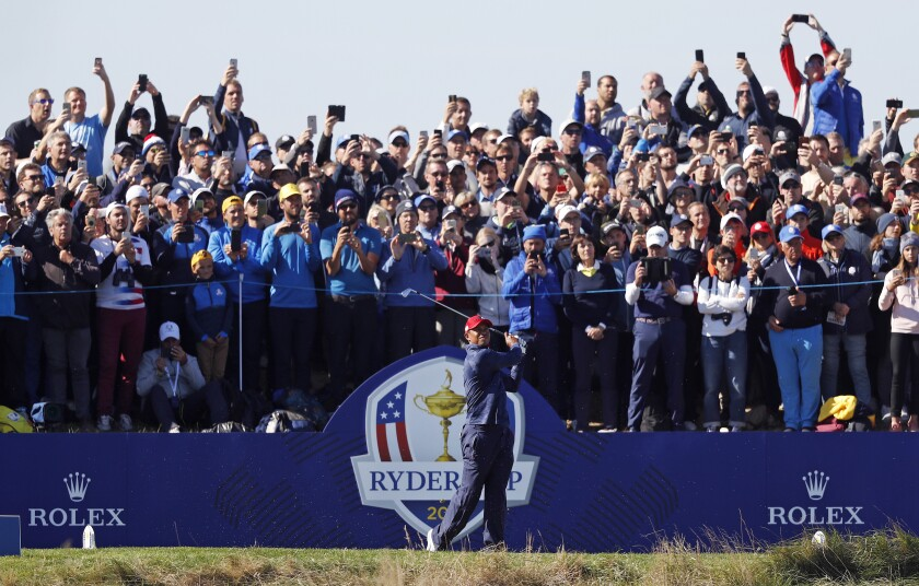 Tiger Woods plays on the final day of the 42nd Ryder Cup on Sept. 30, 2018, in France.