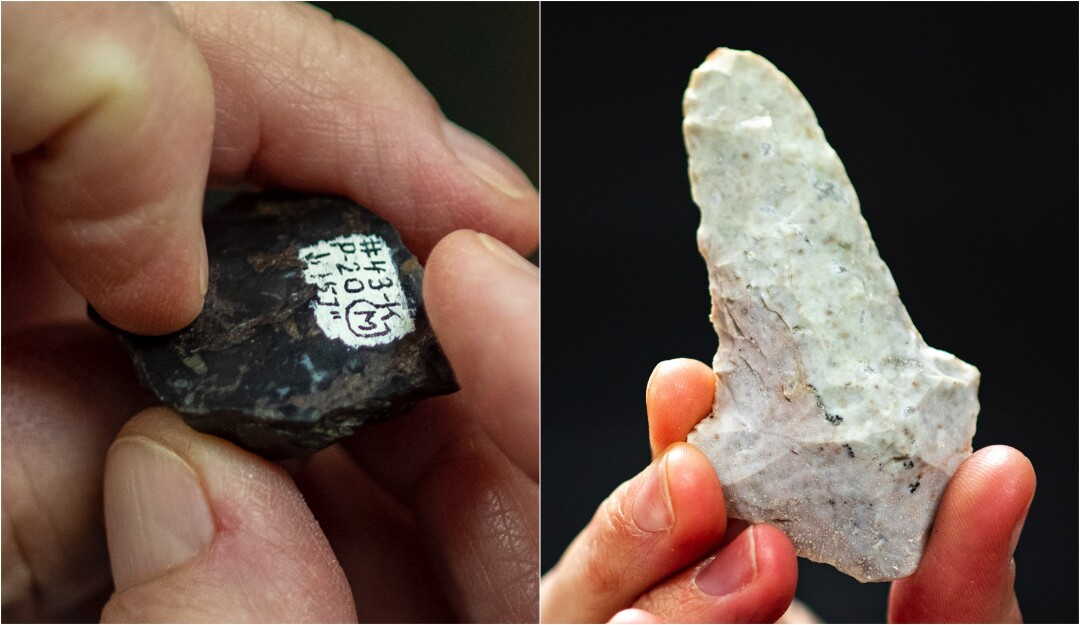 Two close-up images of hands holding ancient stone cutting and engraving tools