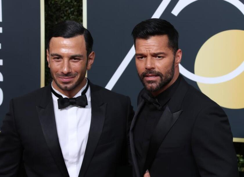 Ricky Martin (R) and Jwan Yosef (L) arrive for the 75th annual Golden Globe Awards ceremony at the Beverly Hilton Hotel in Beverly Hills, California, USA.EFE/EPA/Mike Nelson/File