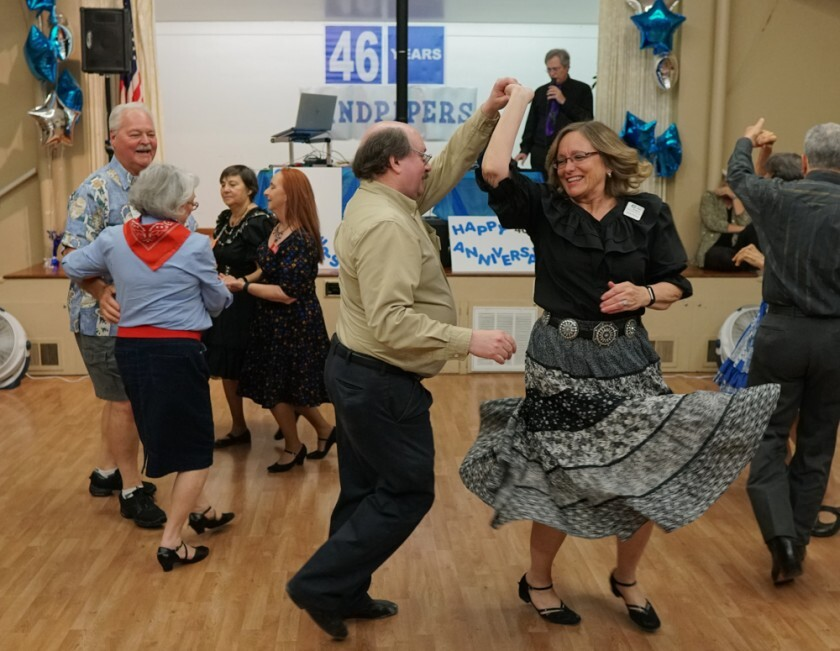 The Sandpipers Square Dance Club held its 46th anniversary dance this spring at the Woman's Club of Carlsbad and drew 50 dancers from throughout the county.The club was founded in April 1973 at Lakeshore Gardens in Carlsbad and since has been based in Encinitas and Solana Beach and is now back in Carlsbad. Sandpiper's summer schedule includes Hoedown Dancing June 10, July 8 and August 12 at the Woman's Club of Carlsbad 3320 Monroe Street. The club also offers weekly community dances open to the public from 7:30 to 9 p.m. Mondays at the Woman's Club of Carlsbad. No prior experience is needed; singles and couples are welcome. Call (310) 710-7530.
