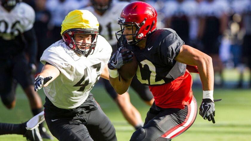 SDSU running back Chase Jasmin tries to evade the coverage of linebacker Kaelin Himphill.