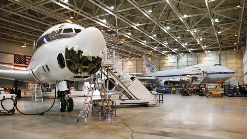 PALMDALE, CA - FEBRUARY 7, 2019 A NASA-operated DC-8 stationed in Palmdale California used to coll