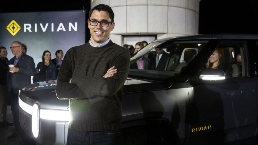 Rivian founder R.J. Scaringe unveiled the R1T electric pickup truck Monday night at Griffith Observatory.