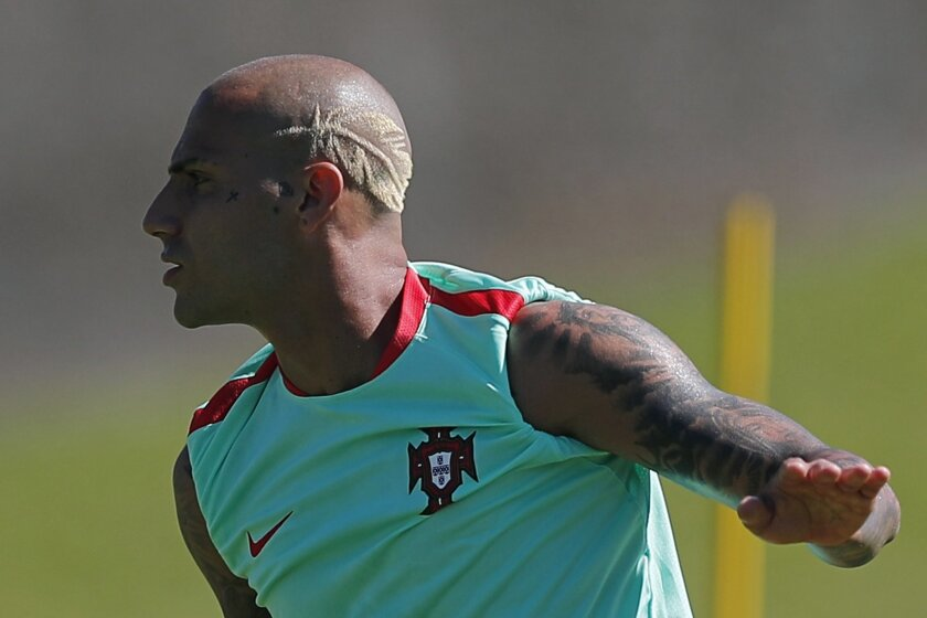 Portugal's Ricardo Quaresma attends a training session, on the eve of the Euro 2016 final soccer match between France and Portugal, at Marcoussis, south of Paris, France, Saturday, July 9, 2016. (AP Photo/Francois Mori)
