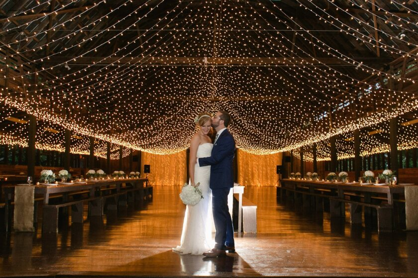 This Sept. 2015 photo provided by Mandee Morgan shows Mandee and Thor Morgan during their wedding reception at Camp Highlander in Horse Shoe, N.C. Summer-camp weddings are a hot new twist on the destination wedding. (Amy Martin Photography/Mandee Morgan via AP)