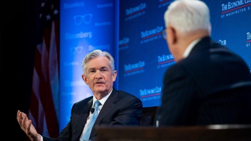 Federal Reserve Chairman Jerome H. Powell at the Economic Club of Washington on Thursday said the government shutdown could be harmful but was otherwise mostly upbeat.
