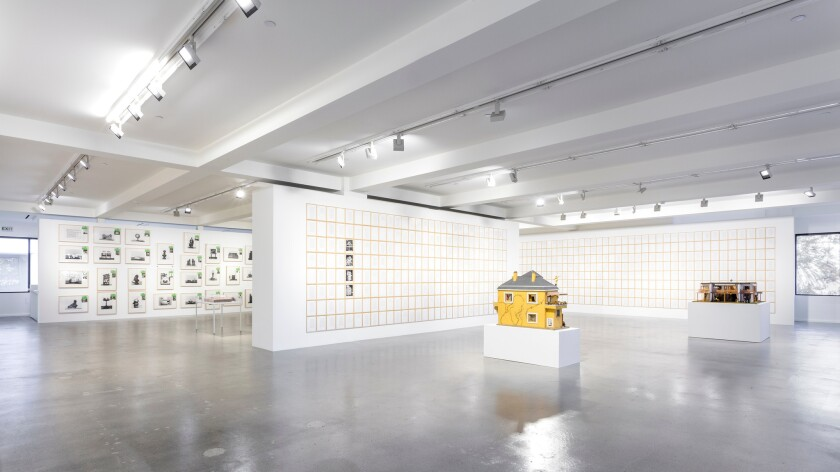 An installation view of the Hanne Darboven exhibition at Sprüth Magers in Los Angeles.