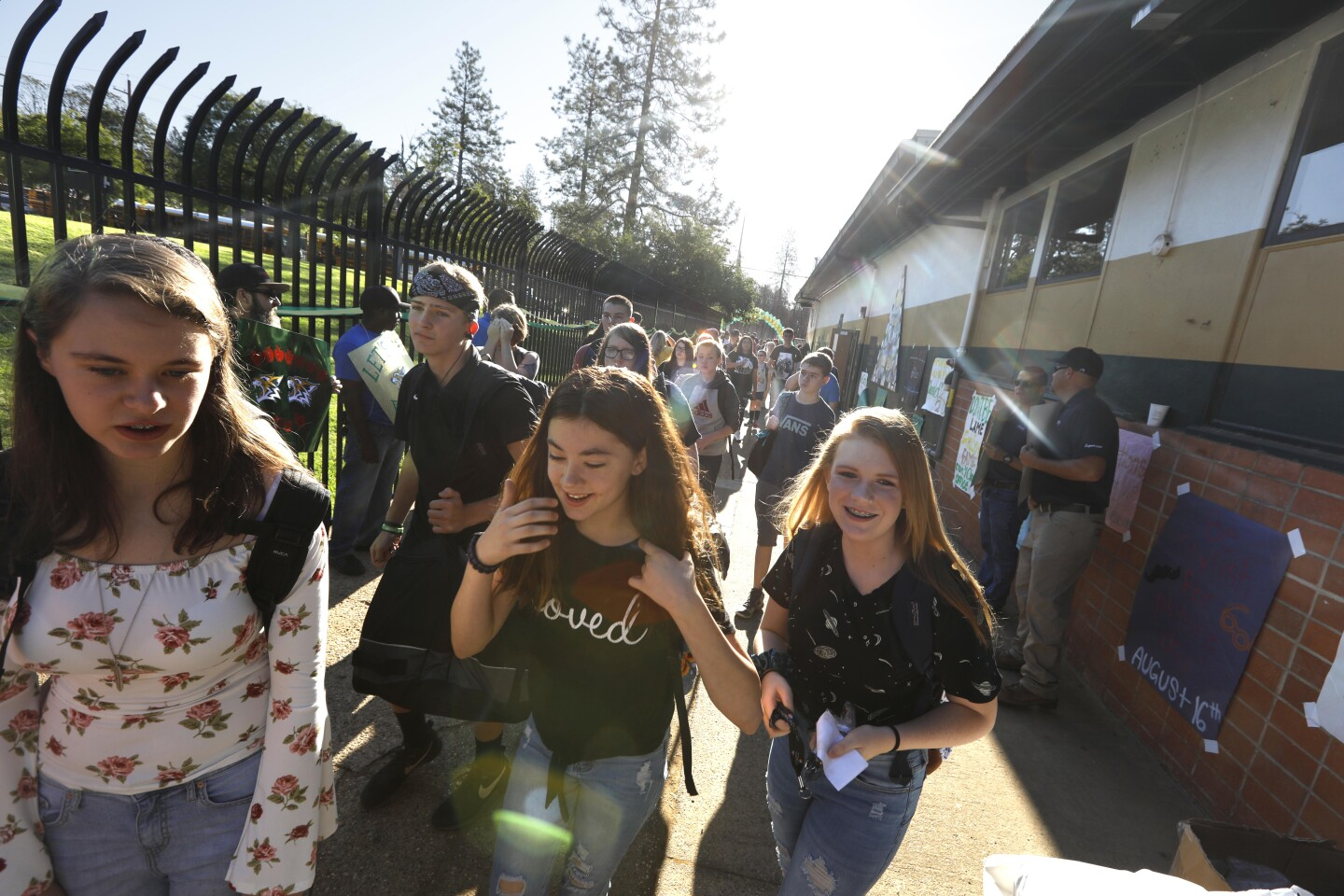 PARADISE, CA - AUGUST 15, 2019 - - Students return to class at Paradise High School months after the Camp Fire ravaged the community in Paradise, California on August 15, 2019. The Camp Fire was the deadliest and most destructive wildfire in California history. 84 people died in the fire and two other residents died later of their injuries. (Genaro Molina / Los Angeles Times)