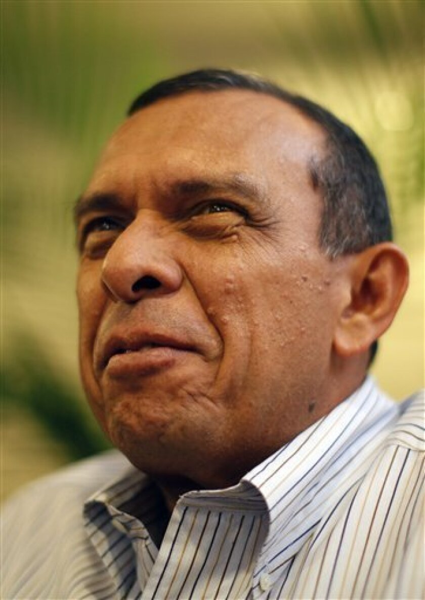 Porfirio Lobo, candidate for Honduras'  National Party, speaks during an interview in Tegucigalpa, Friday, Nov. 27, 2009. Honduras's general elections are scheduled for Nov. 29.  (AP Photo/Rodrigo Abd)