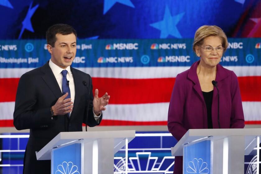 Pete Buttigieg and Elizabeth Warren at Democratic debate