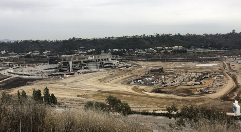 View looking south onto the SDSU Mission Valley site, where Aztec Stadium rises as San Diego Stadium falls.
