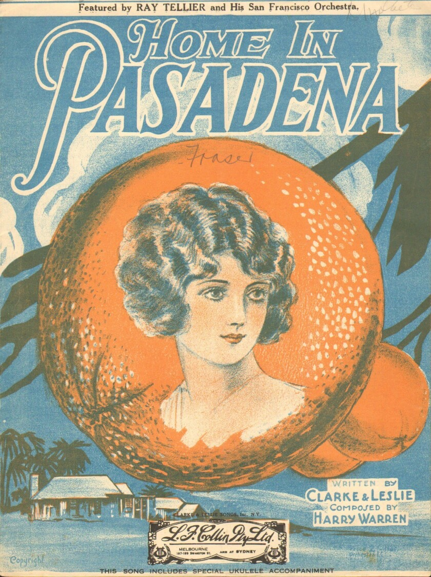 Sheet-music cover illustration shows a portrait of a 1920s-era woman on an orange.