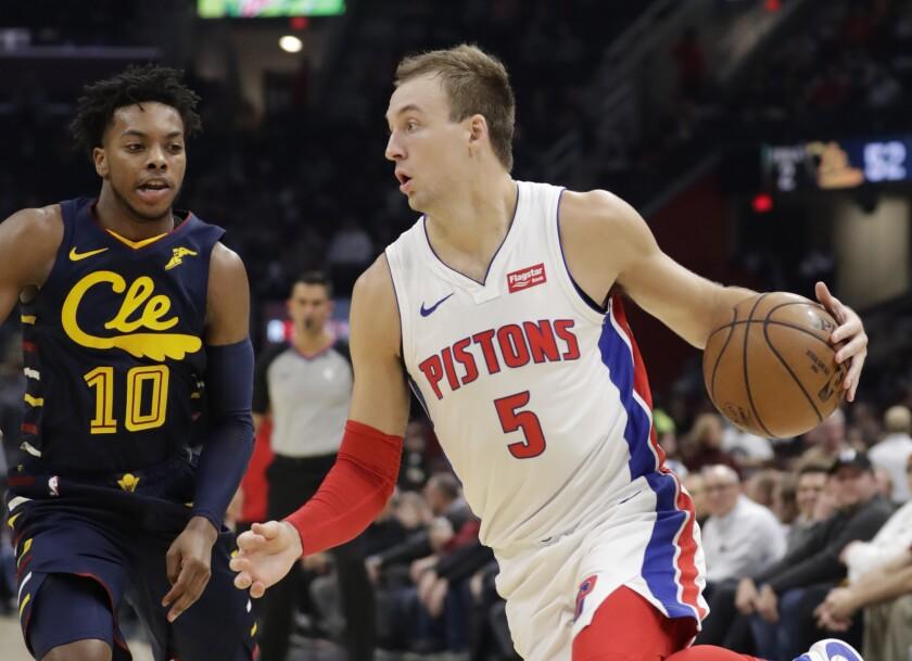 Detroit's Luke Kennard drives against Cleveland Cavaliers in December.