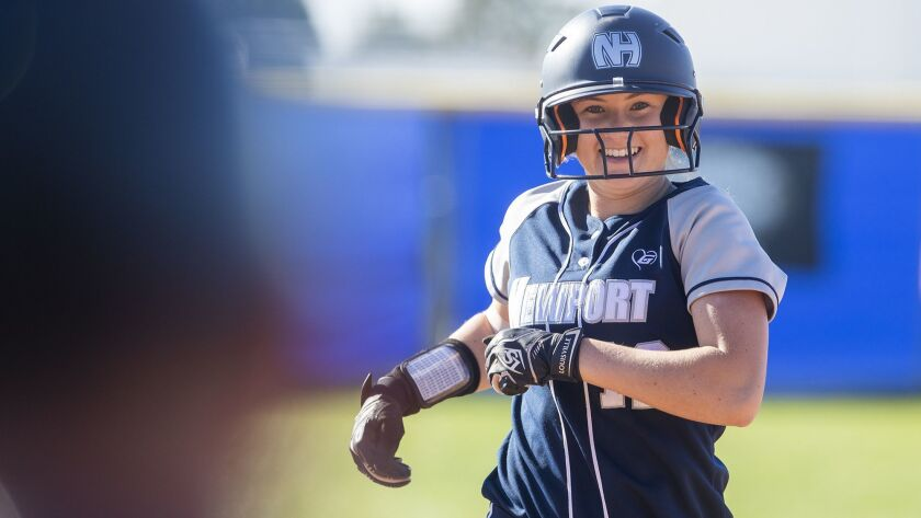 Newport Harbor's Eliana Gottlieb runs the bases on a single-run home run in the fifth innng during a