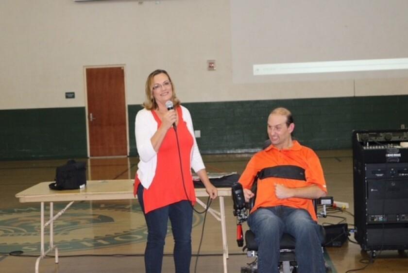 Guest speaker Sherrie Rubin with her son Aaron Rubin.