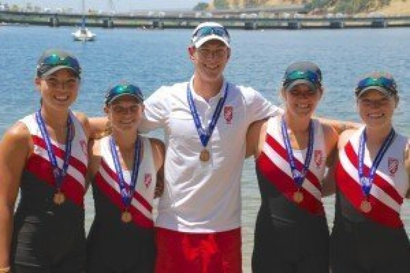 Rowing Club members (L-R): Mariko Kelly, Sarah Hoskin, Coach Benton Sparks, Jillian Renly and Marissa Gibson.