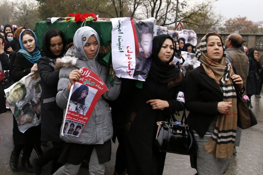 Thousands of people rally in Kabul, Afghanistan, on Nov. 11 to protest the nation's security situation.