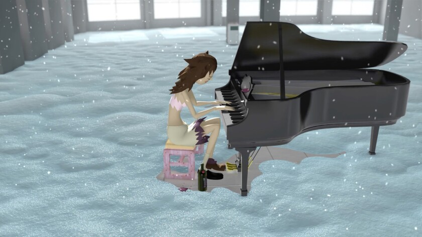 """Bunny Rogers' animated piece """"Mandy's Piano Solo in Columbine Cafeteria"""" is among the artist's works on display at the Marciano Art Foundation in L.A."""