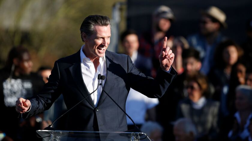 Lt. Governor Gavin Newsom at the UTA's United Voices rally.