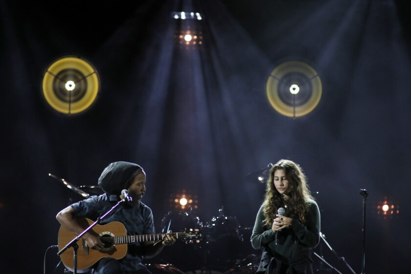 Inglewood, CA January 16, 2019: Ziggy Marley, left, and Toni Cornell, on stage during concert t