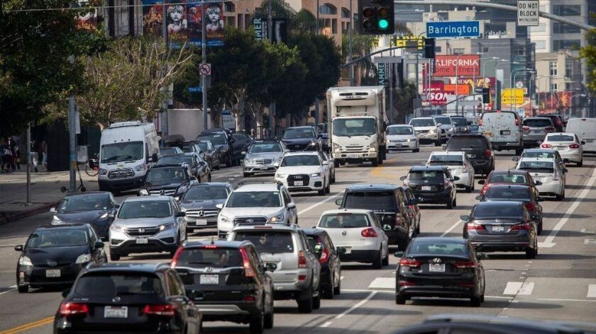 Heavy traffic congestion moves slowly during morning rush hour along Wilshire Boulevard, one of the Westside's busiest corridors, west of the 405 Freeway in Los Angeles on March 27.