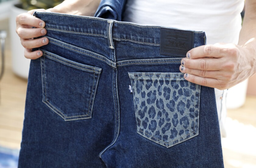 LOS ANGELES- August 17, 2018: A pair of jeans model Lily Aldridge designed at Levi's studio in DTLA.