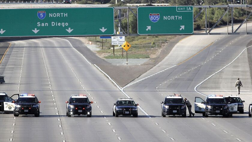 The San Ysidro port of entry was blocked by Customs and Border Protection and Department of Homeland Security agents midday Sunday. This is a view from the overpass at Camino de La Plaza looking north at Interstate 5 and Interstate 805 lanes..