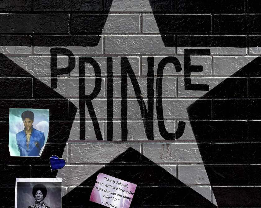 A star honoring Prince, who died last week at 57, is painted on the wall at the First Avenue club where he started his music career in Minneapolis.